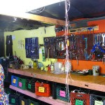The tool rack and bins which live on in the current space.
