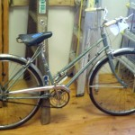 A vintage Atkins stepthrough bike.